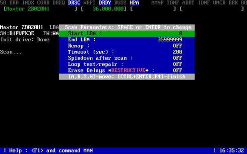 在运行SCAN命令后Mhdd会报告被检测硬盘的型号、固件版本、LBA值等参数